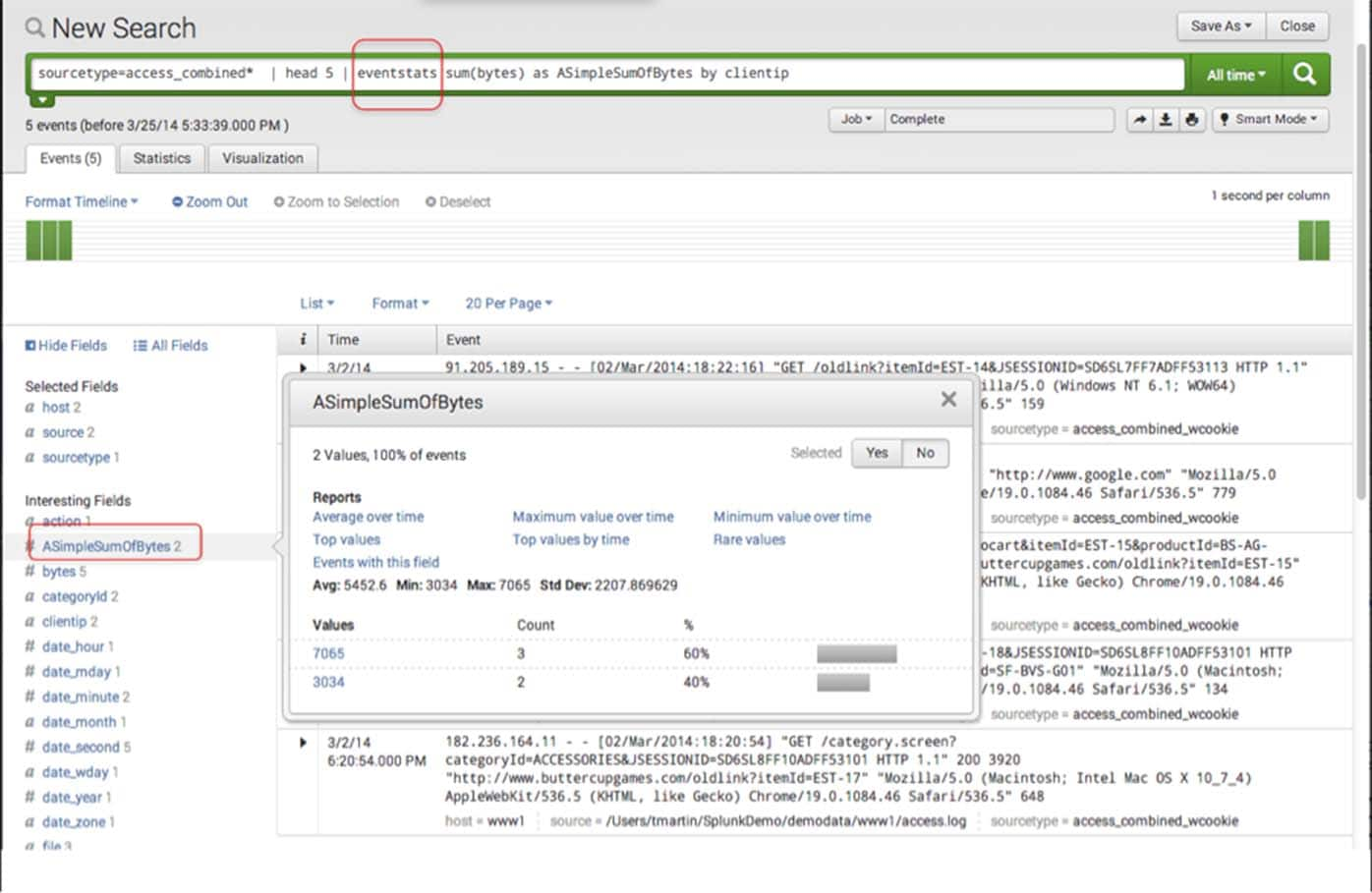 Splunk search eventstats sum bytes
