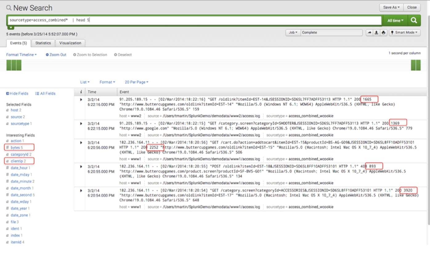 Splunk search web log bytes clientip