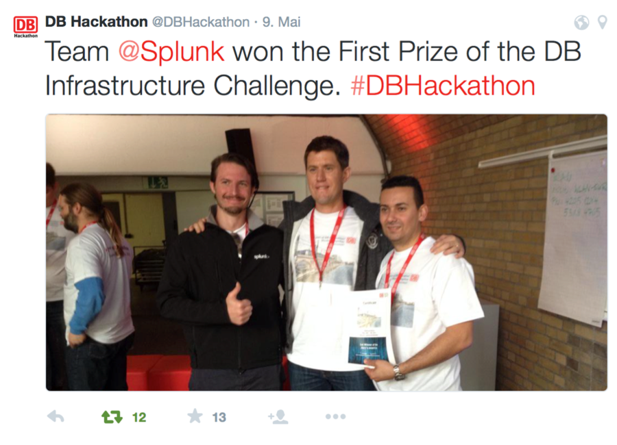 Team Splunk won the First Price of the DB Infrastructure Challenge 2015