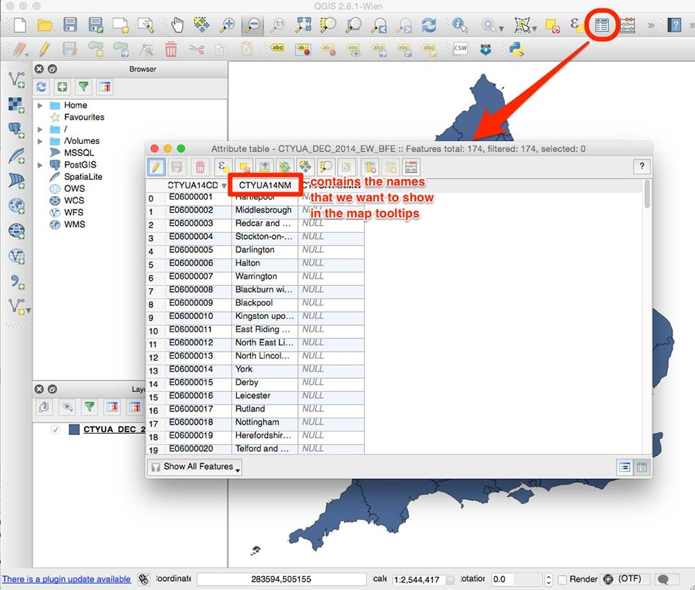 Shapefile attribute table map tooltips