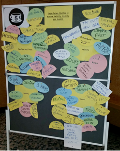 Figure 2- The ideas pin board from my World Café session at Delivery of Things World Berlin on Data-Driven DevOps