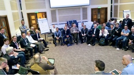 Figure 1- The 'Metrics That Matter' open space I kicked off at DevOps Days London - as wide a circle as we could manage, 3 rows deep, and standing room only