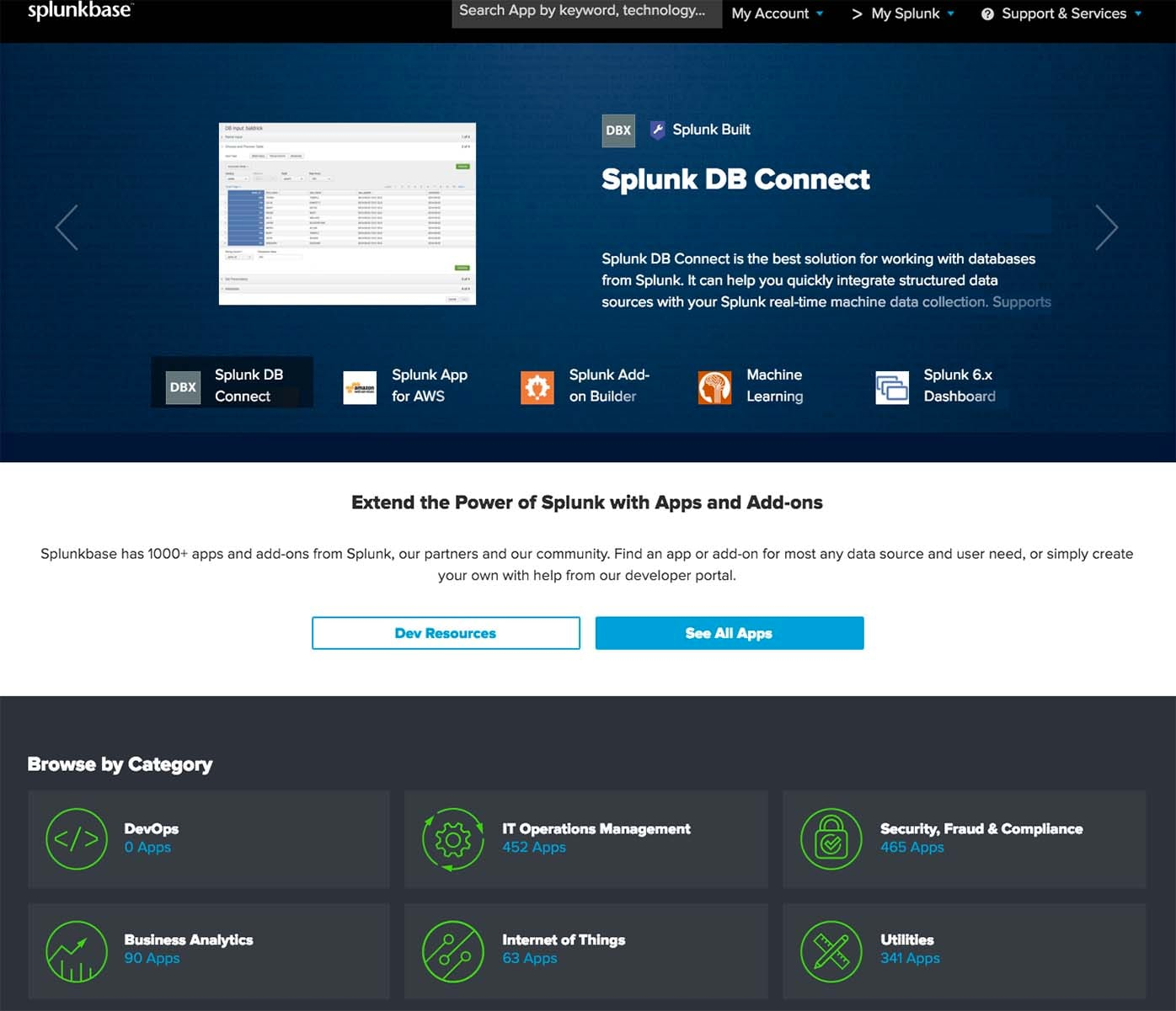 Splunkbase homepage categories
