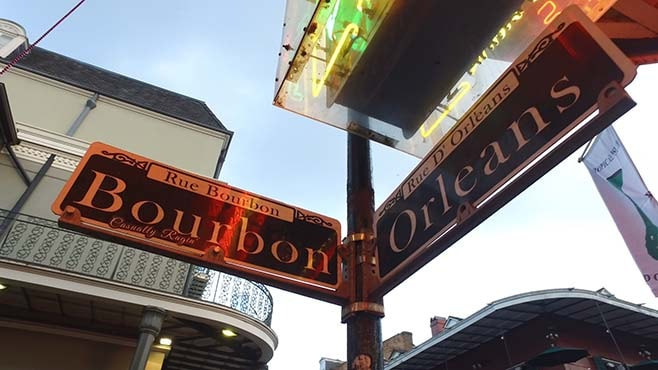 street signs Bourbon Orleans