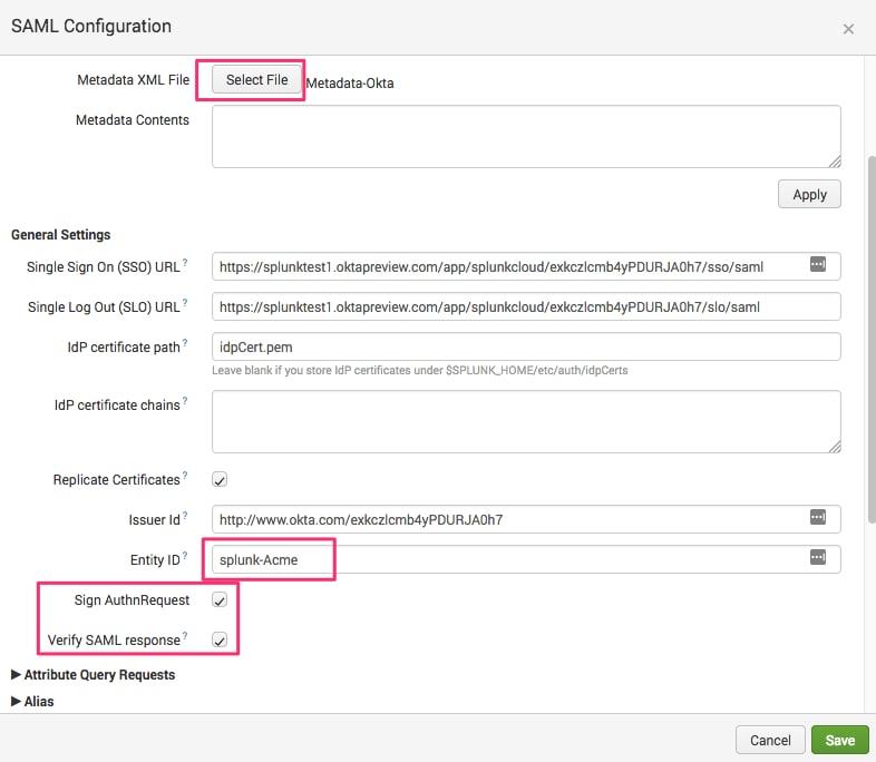 Configuring Okta SAML Single Sign On with Splunk Cloud