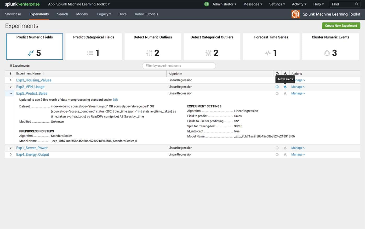 Splunk Machine Learning Toolkit Experiments