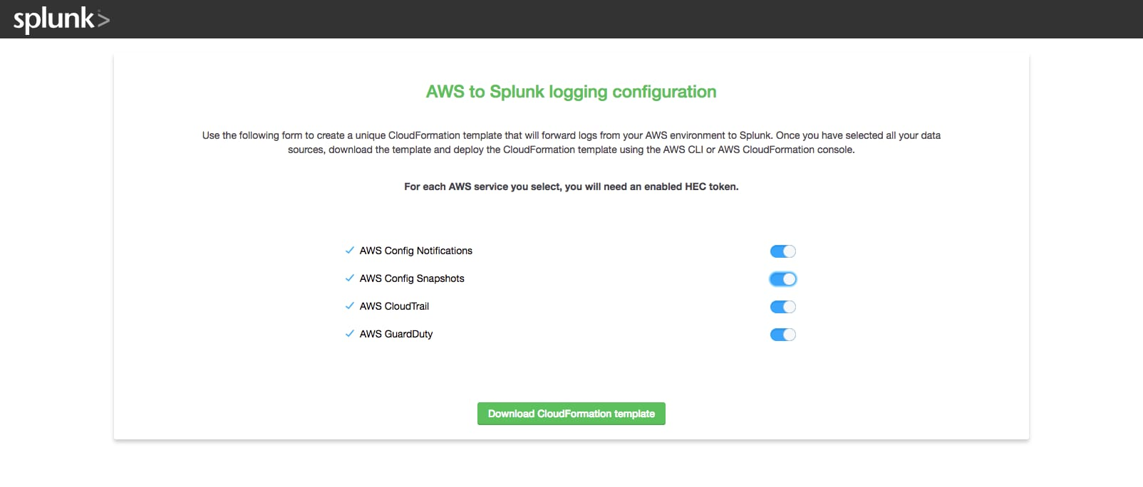 cloudformation template generator - automating aws data ingestion into splunk
