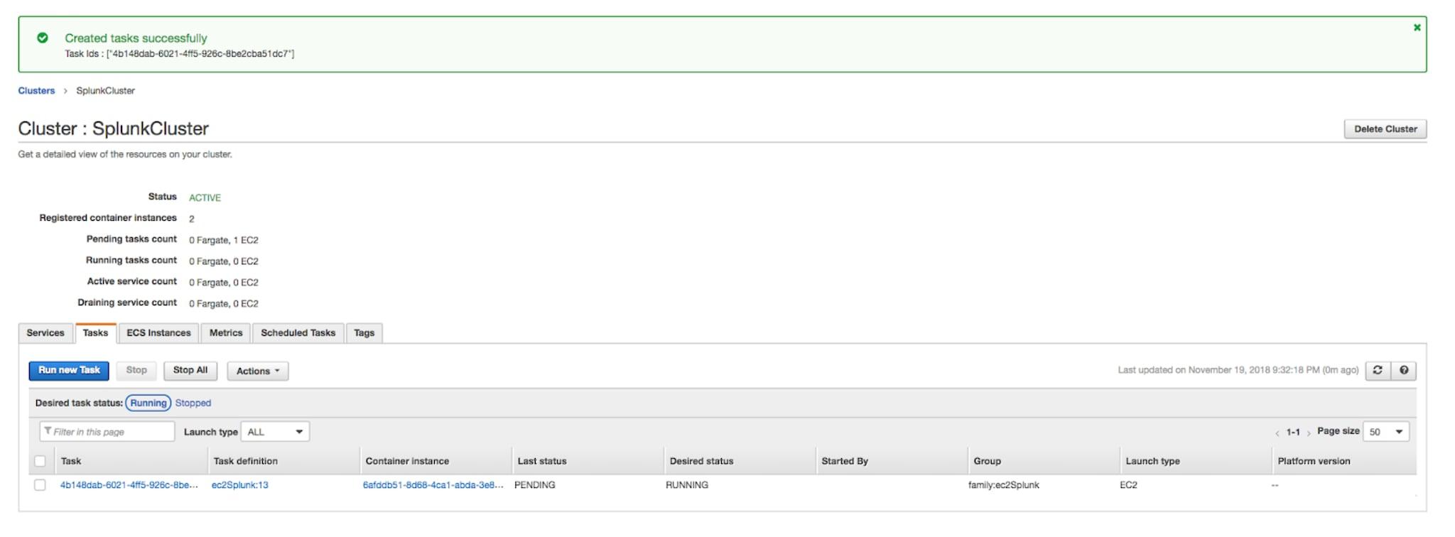Running Splunk in Amazon's Elastic Container Service