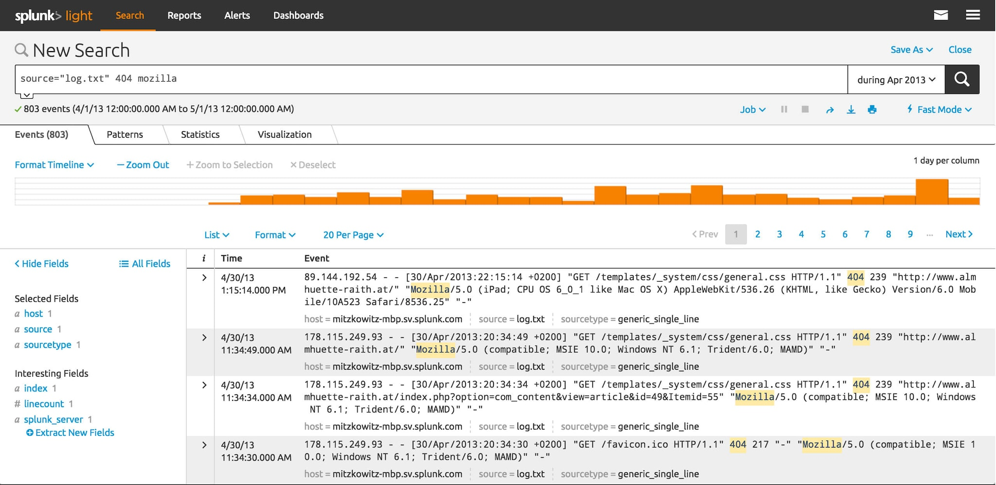 splunk light features